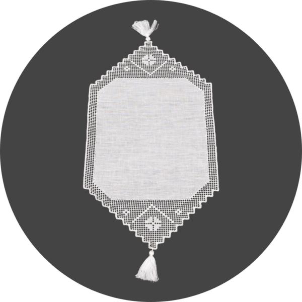 Centrino in puro lino bianco